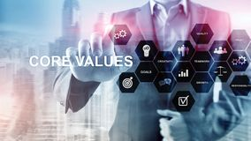 Core values concept on virtual screen. Business and finance solutions.  stock photography