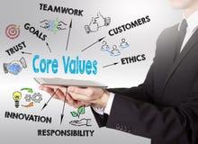 Core Values concept, young man holding a tablet computer Stock Photos