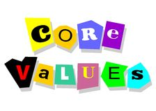 Core values. Ethics concept - core values, words in collage cutouts isolated on white Stock Photography