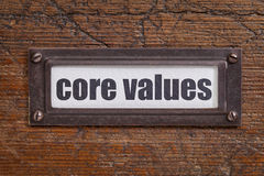 Core values - file cabinet label Stock Photo