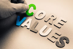 Core Values. Finger pick a wood letters of Core Values word royalty free stock photo