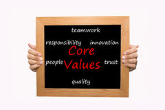 Core Values. Hand write Core Values word concept stock images