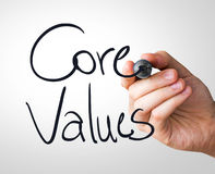 Core Values hand writing with a black mark on a transparent board.  royalty free stock photos