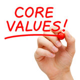 Core Values. Hand writing Core Values with red marker on transparent wipe board royalty free stock photos