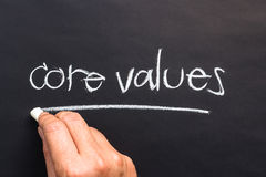 Core values. Hand writing Core Values topic with chalk Stock Image