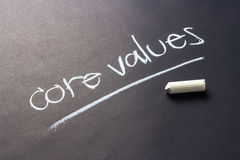 Core values. Handwriting with chalk of Core Values topic Royalty Free Stock Photography