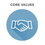 Core Values Icon with Handshake / Shaking Hands Royalty Free Stock Image