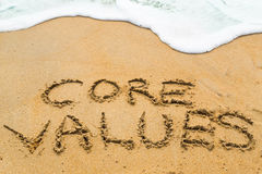 CORE VALUES inscription written on sandy beach with wave approac. Hing Stock Image