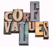 Core values - word abstract in wood type Stock Photography