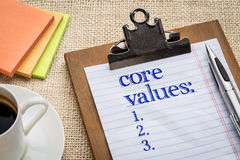 Free Core Values List On Clipboard Stock Photography - 68755042