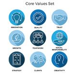 Core Values - Mission, integrity value icon set with vision, hon. Esty, passion, and collaboration as the goal / focus Stock Photography