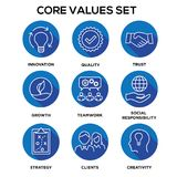 Core Values - Mission, integrity value icon set with vision, hon Stock Image