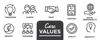 Core Values - Mission, integrity value icon set with vision, hon Royalty Free Stock Photo