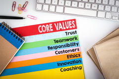 Core Values. Office desk with a computer keyboard and color pages Stock Images
