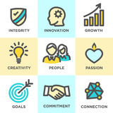 Core Values Outline Icons Yellow Blue Royalty Free Stock Photo