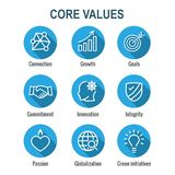 Core Values Outline or Line Icon Conveying Integrity & Purpose. Core Values Outline or Line Icon Conveying Integrity vector illustration