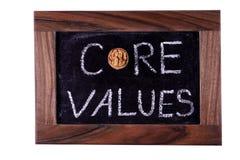 Core values. Phrase - white chalk handwriting royalty free stock photo