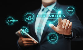 Core Values Responsibility Ethics Goals Company concept. Businessman press button. Core Values Responsibility Ethics Goals Company concept royalty free stock photography