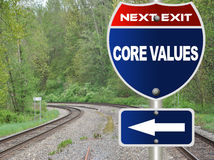 Core values road sign. With railroad background Stock Images