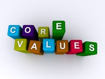 Core values. Spelled in colorful blocks on white stock images