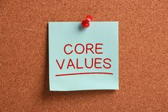 Core Values Sticky Note. Pinned on cork Royalty Free Stock Images
