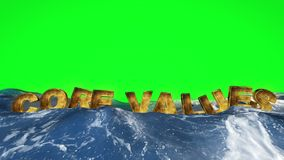 Core values text floating in the water against green screen vector illustration