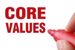 Core Values. Text is written by red marker on white paper royalty free stock images