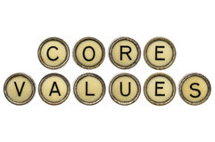 Core values in typewriter keys Royalty Free Stock Photo