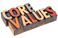 Core values in vintage wood type Royalty Free Stock Images