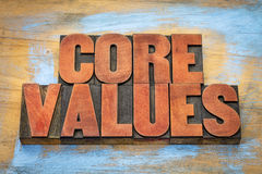 Core values in vintage wood type. Core values  banner  -  word abstract in vintage letterpress wood type blocks  against grunge wooden background Royalty Free Stock Images