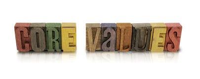 Core Values Wood Block Letter Set w Multiple Colors. Core Values Wood Block Letter Set Stock Photos