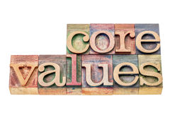 Core values in wood type Stock Photos