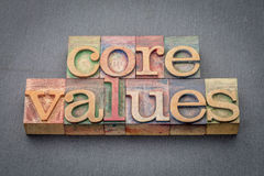 Core values in wood type Royalty Free Stock Photography