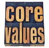 Core values in wood type - ethics concept. Core values - ethics concept - isolated text in vintage letterpress wood type printing blocks stained by color inks Stock Images