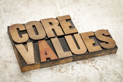 Core values  in wood type Stock Photography
