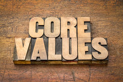 Core values word abstract in vintage wood type. Core values  banner  -  word abstract in vintage letterpress wood type blocks  against rustic wooden background Stock Photos