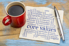 Core values word cloud on napkin with coffee. Word cloud of possible core values on a napkin with a cup of coffee royalty free stock photos