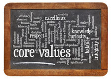 Core values word cloud. On a vintage slate blackboard stock photos