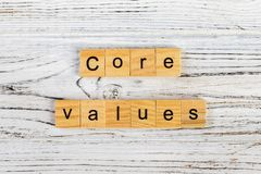 Core values word made with wooden blocks concept.  royalty free stock images