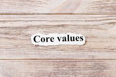 Core Values of the word on paper. concept. Words of Core Values on a wooden background.  stock photos