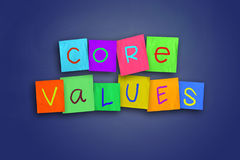 Core Values. The words Core Values written on sticky colored paper royalty free stock images