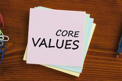 Core Values written on note concept. CORE VALUES written on note. Business Concept. Top view Royalty Free Stock Photos