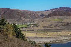 Corea del Norte enfrente de la ciudad china de Tumen Foto de archivo libre de regalías