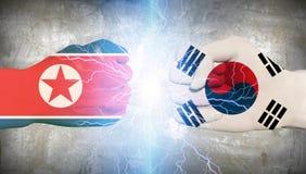 Corea del Sur Corea del Norte  Imagenes de archivo