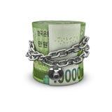 Coreano acorrentado do rolo do dinheiro para o sul ganhado Foto de Stock