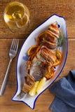 Coregone Bacon-avvolto arrostito Il pesce si ? avvolto con bacon immagine stock libera da diritti
