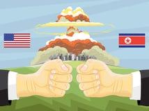 Coreia do Norte contra América, explosão nuclear Imagem de Stock