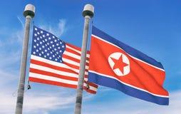Coreia do Norte e bandeiras dos EUA Fotografia de Stock Royalty Free
