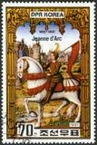 COREIA DO NORTE - 1981: mostra Joana do arco 1412-1431, empregada doméstica de Orleans, 550th morte do aniversário, série fotos de stock royalty free