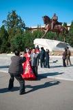 COREIA DO NORTE, Pyongyang: Centro da cidade o 11 de outubro de 2011 KNDR Fotografia de Stock